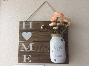 Home mason jar,wall decor,shabby chic,rustic decor,hallway sign,mason jar wall hanging,home sign,home decor,country chic,farmhouse decor - King City Treasures