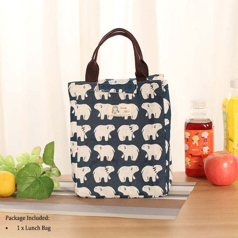 Cotton Lunch Bag Insulated Lunch Tote Soft Bento Cooler Bag
