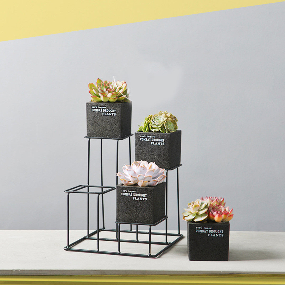 4pcs Cement Succulent Planter Pots Square Flower Pot Flower Planter with One Iron Metal Shelf