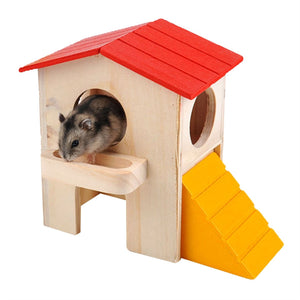 Wooden Bed House Cage Dual Layer Villa Toy for Pet Rat Mouse Dwarf Hamster