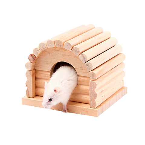 Pet Small Animal Hideout Hamster House Cute Wooden Bedding Hut