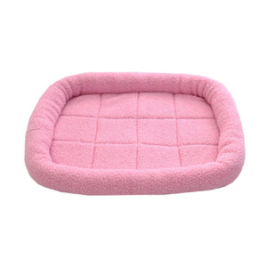 Dog Bed Mat Kennel Soft Pet Dog Puppy Warm Bed House Plush Cozy Nest Dog House Pad Warm Pet House (Pink)