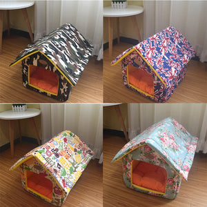 Portable Indoor Pet Bed Dog House Soft Warm and Comfortable Cat Dog Sweet Room