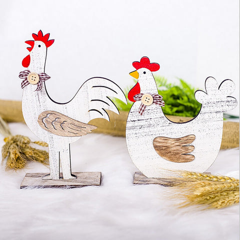 Decorations Wooden Rooster Hen Shapes Ornaments Craft