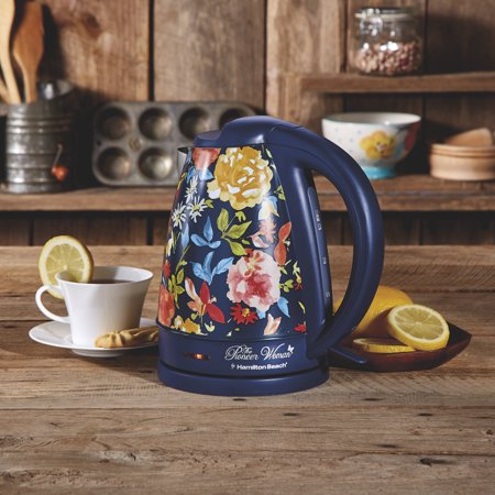 Pioneer Woman 1.7 Liter Electric Kettle Blue/Fiona Floral | Model# 40971 by Hamilton Beach