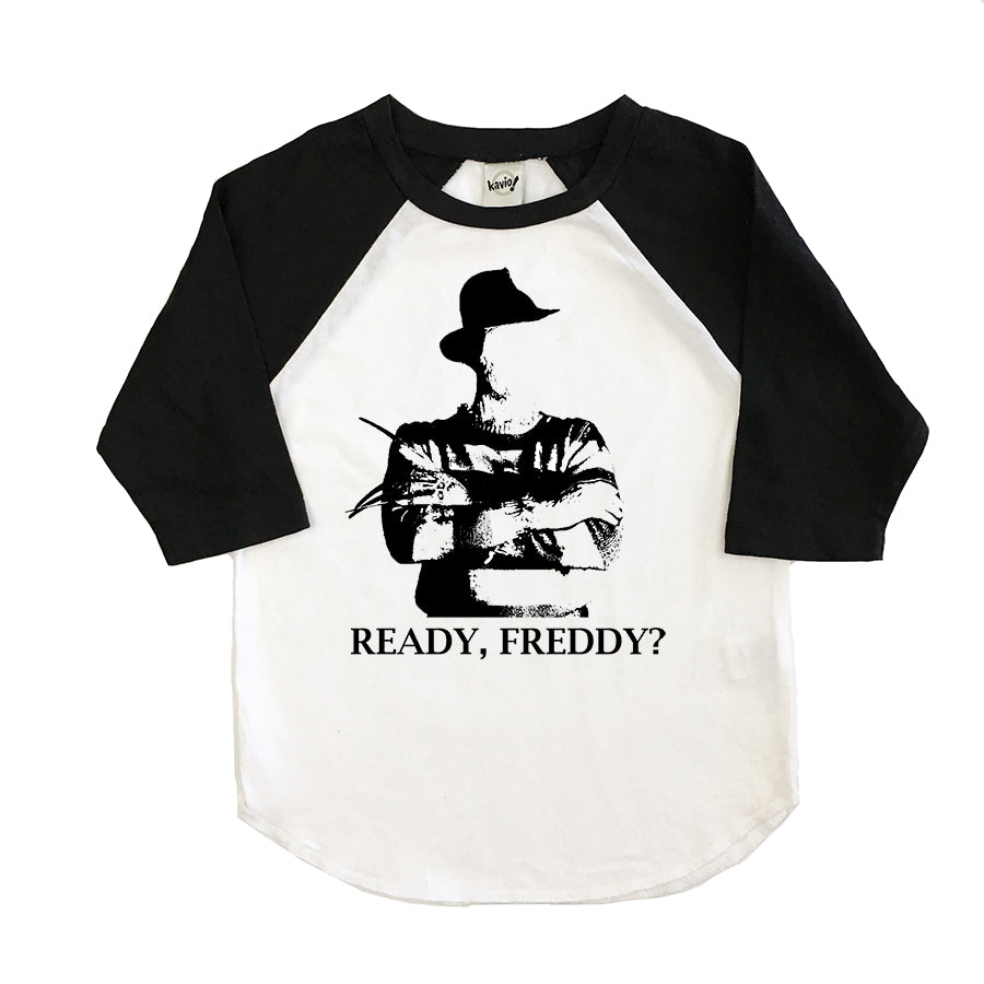 Ready Freddy black and white raglan