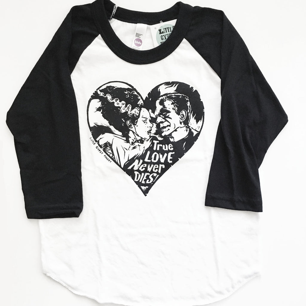 True Love Never Dies Black and White raglans