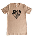 True Love Never Dies (adult sizes)  tshirts peach & grey
