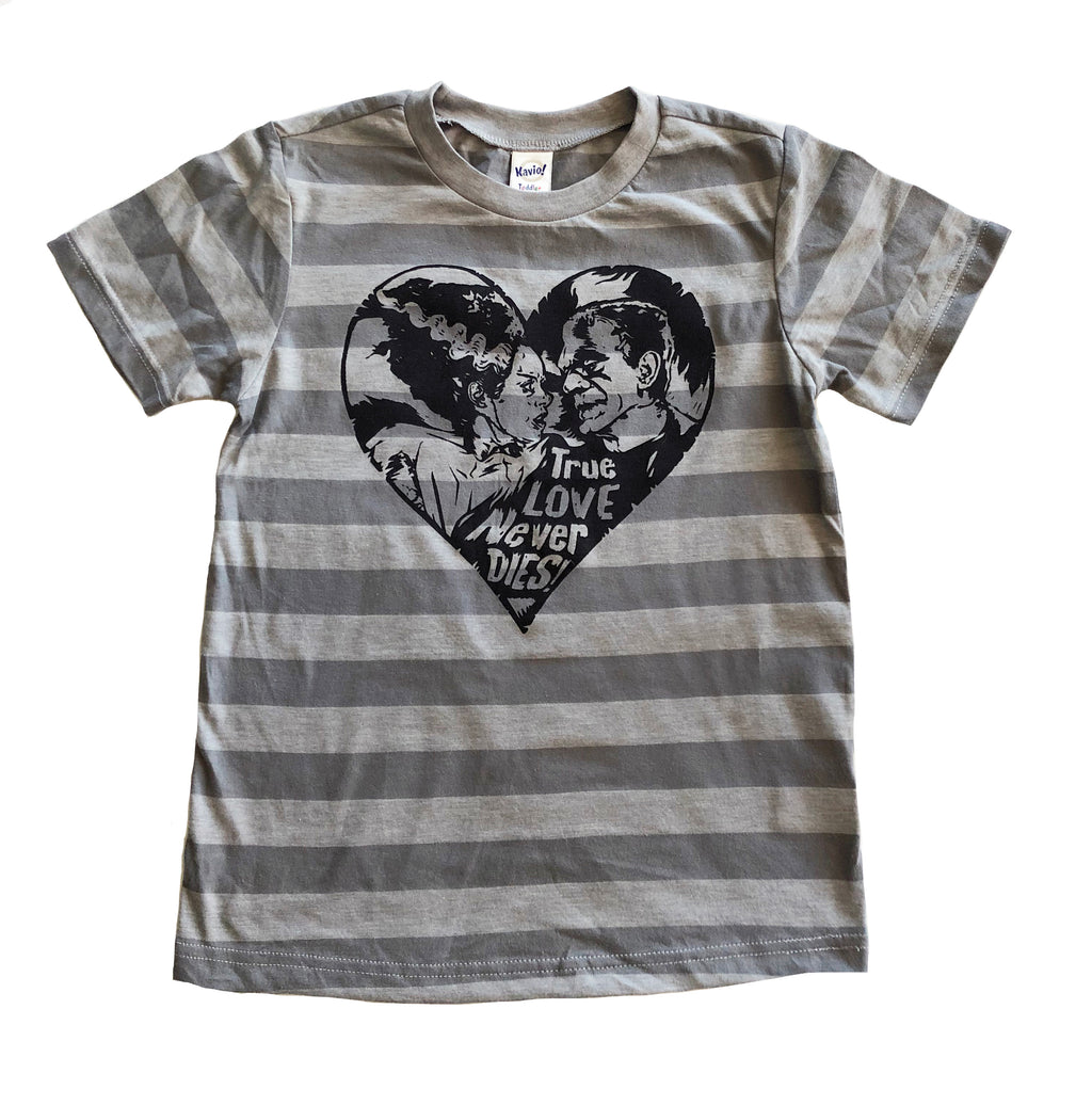 True Love Never Dies striped tshirt