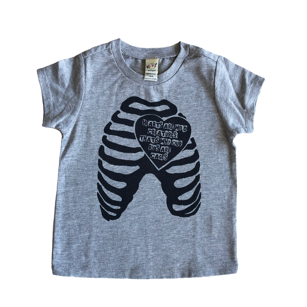 Hearts Are Wild Creatures tshirts (gray 12m & 18m)