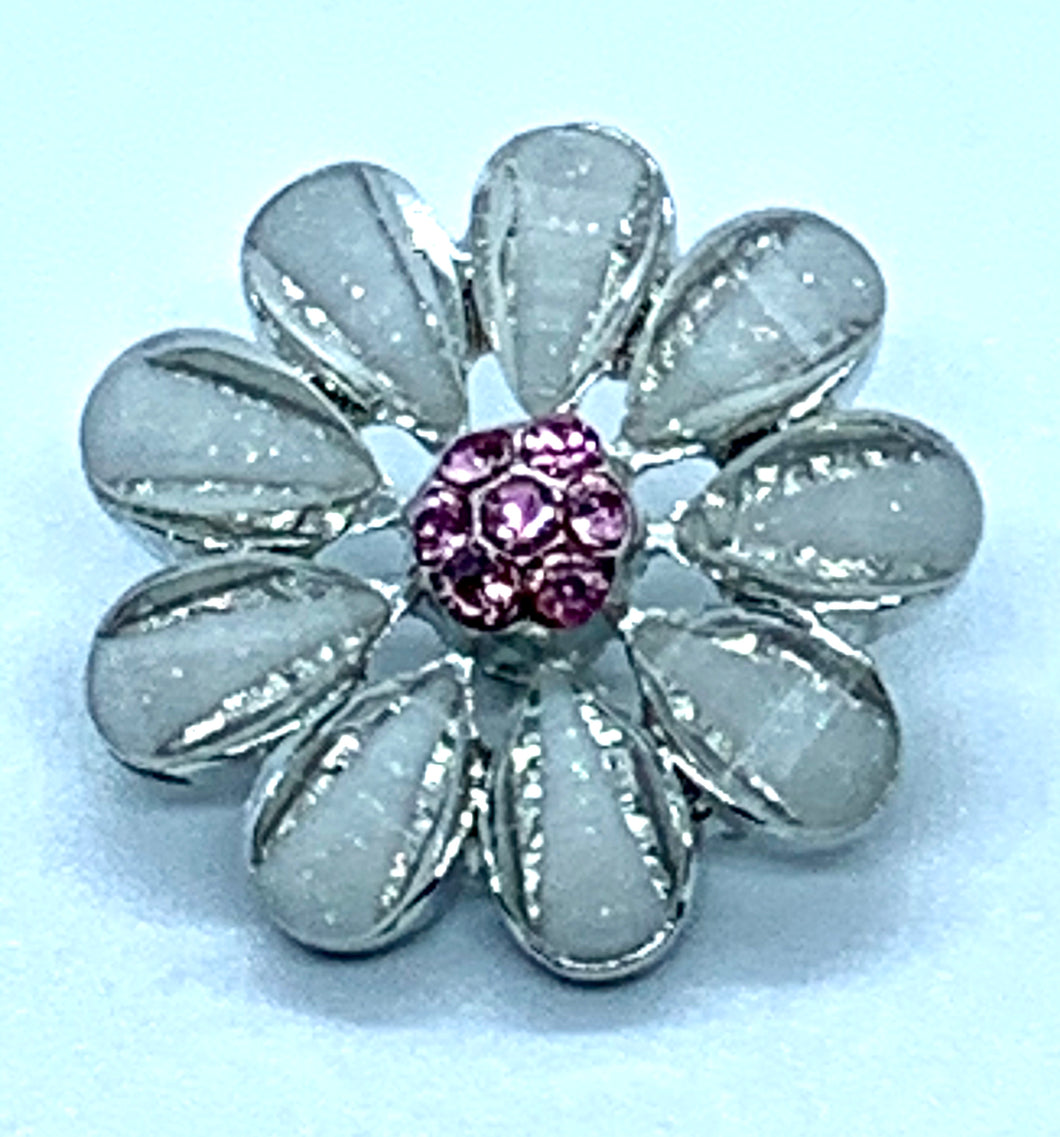 Gray Flower Snap with Pink Crystals