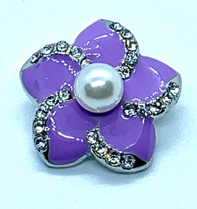 Purple Enamel Flower Snap with Crystals and a Pearl