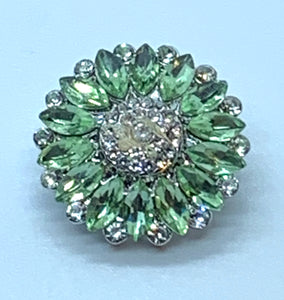 Green and Clear Crystal Flower Snap