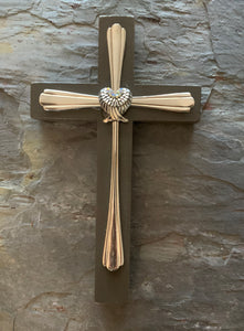 Wood and Silverware Cross