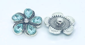 Turquoise Crystal Flower Snap