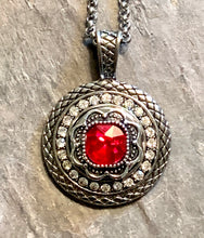 Snap Necklace with Red Flower