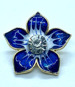 Large Enamel Blue/Gold Flower with Crystal