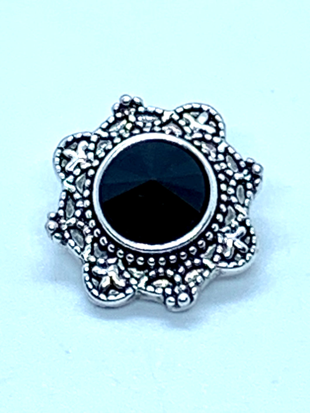 Silver and Black Crystal Flower Snap