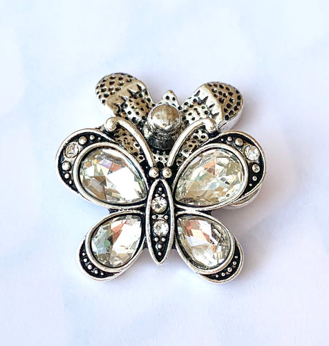 Large Clear Crystal Butterfly Snap