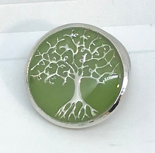 Green Enamel and Silver Tree of Life