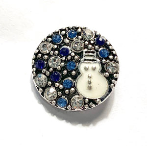 Blue and Clear Crystal with White Enamel Snowman Snap