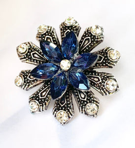 Beautiful Large Blue and Clear Crystal Silver Double Flower Snap