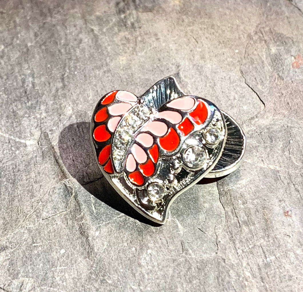 Pink and Coral Crystal Butterfly Heart Snap