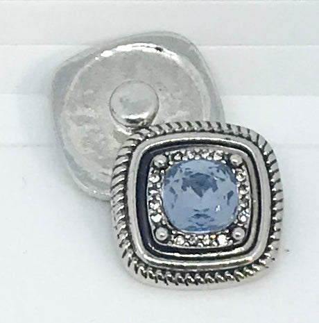 Square Light Sapphire and Crystal Snap
