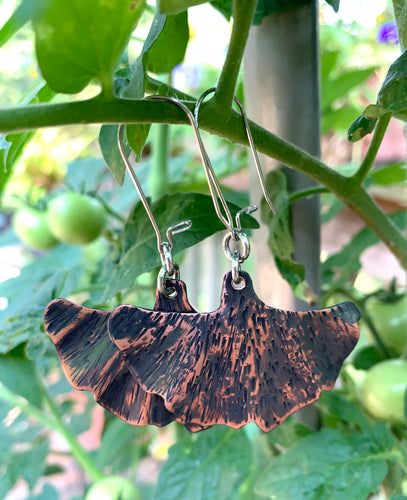 Copper Gingko Earrings