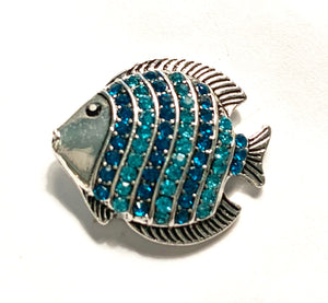 Large Turquoise Crystal Striped Fish Snap