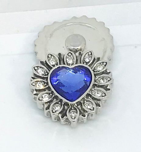 Light Sapphire and Crystal Heart Snap