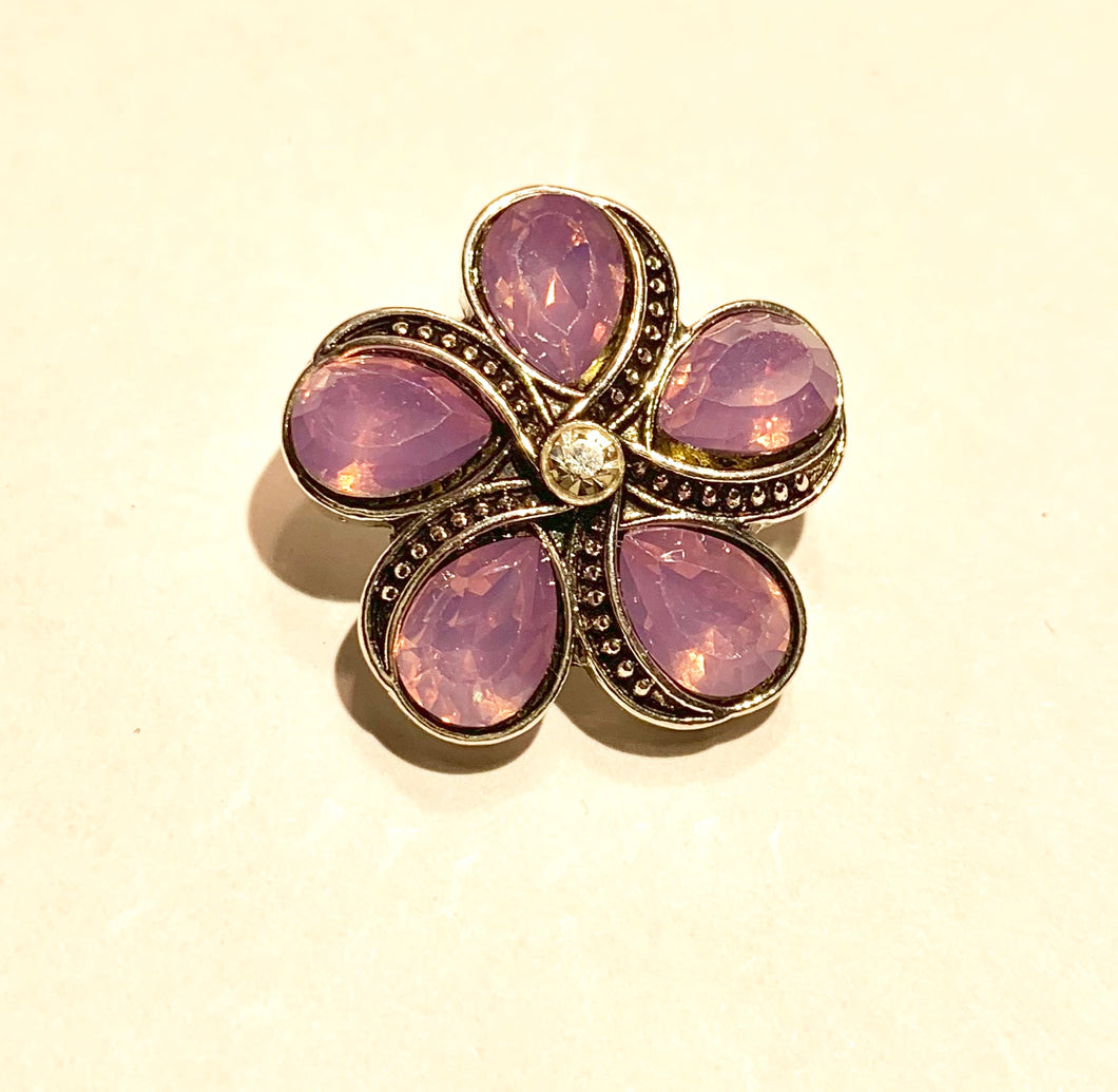 Purple Opal Faux Marquesite Flower Snap