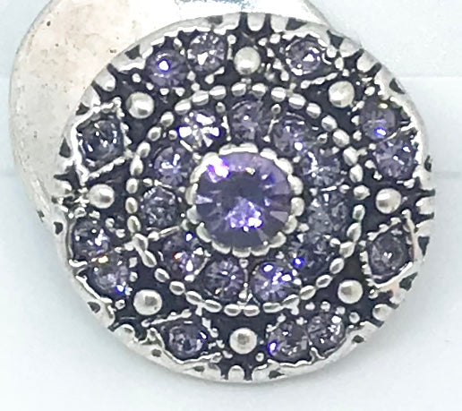 Round Tanzenite, Crystal and Silver Snap
