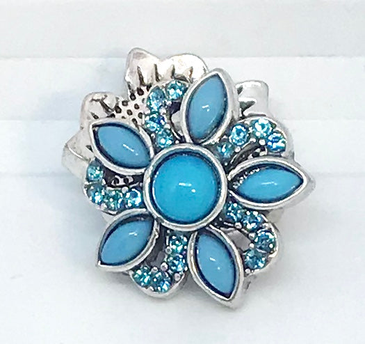Turquoise and Crystal Flower Snap