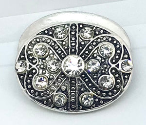 Beautiful Oval Faux Marcasite Crystal Snap