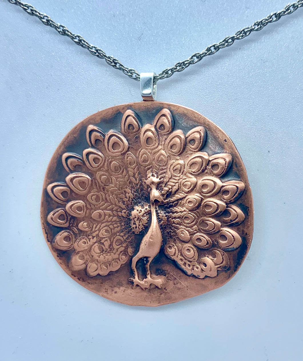 Copper Peacock Necklace