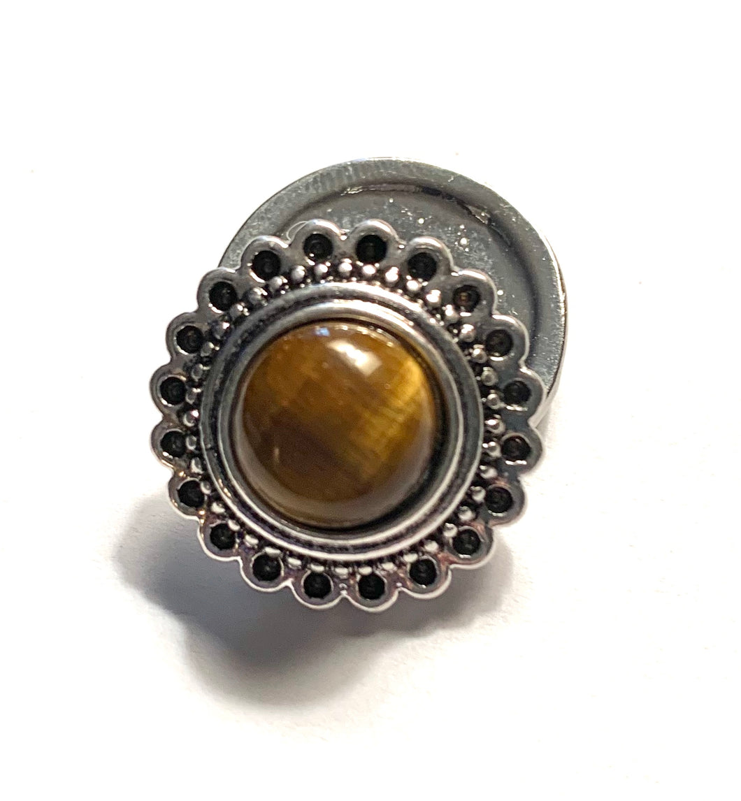 Round Silver and Tiger Eye Snap