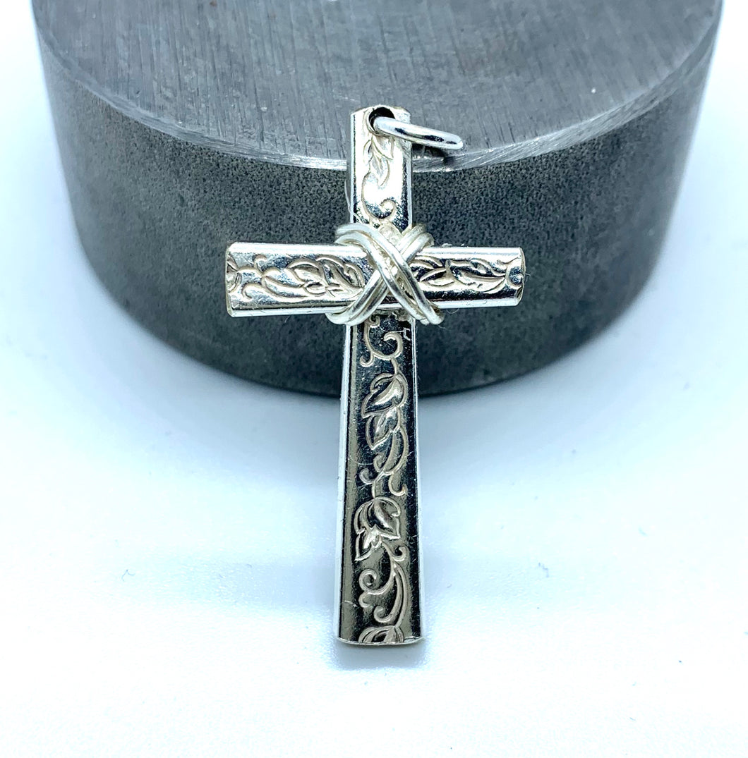 """Silver Lace"" Cross"