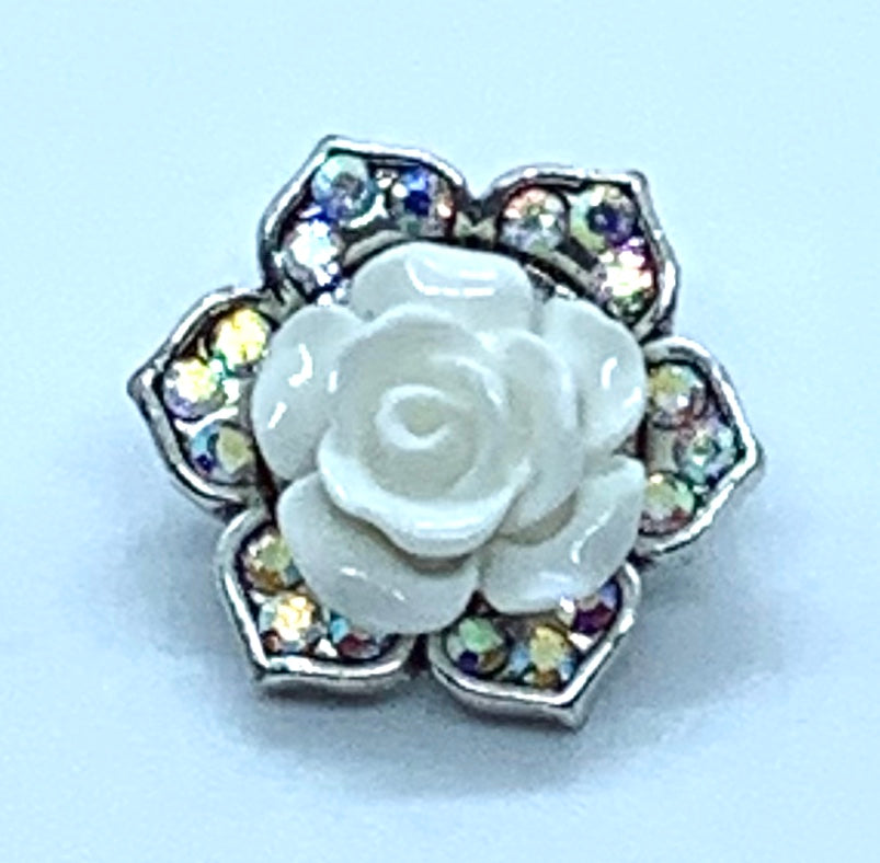 White Resin Rose On a crystal Flower Snap