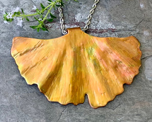 Copper Ginkgo Leaf Pendant