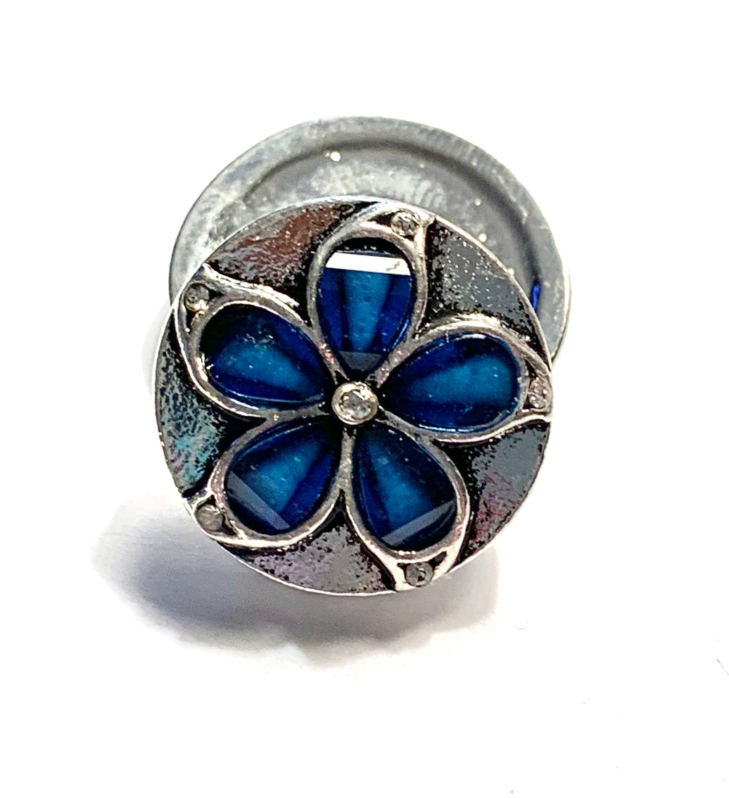 Blue Crystal Flower and Silver Snap