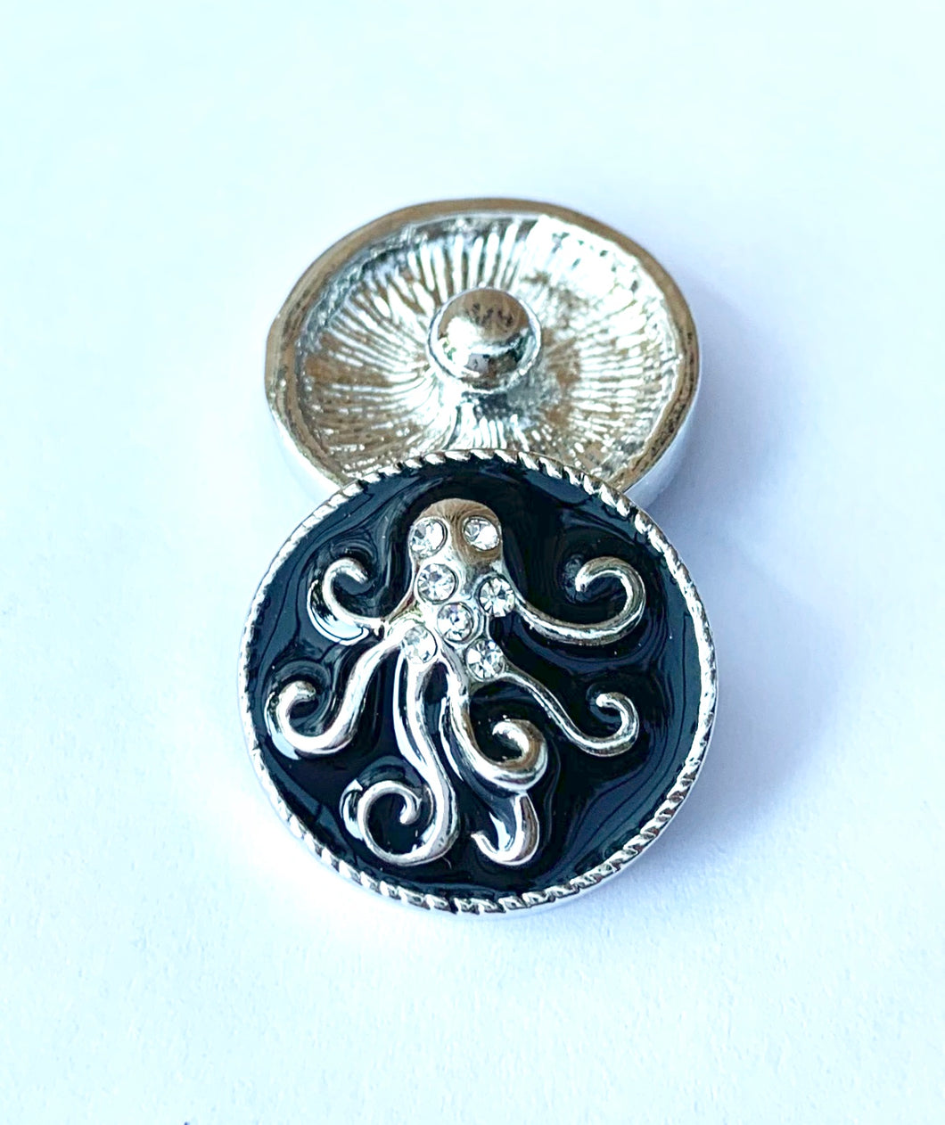 Black Enamel, Silver and Crystal Octopus Snap