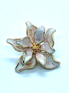 Enamel Pink and Gold Funky Flower