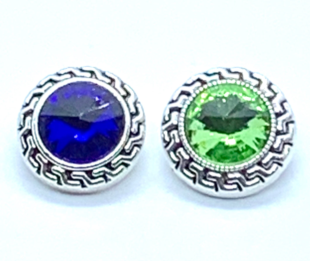 Sapphire or Peridot Crystal/Silver Snap