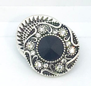 Round Black and Clear Crystal Snap