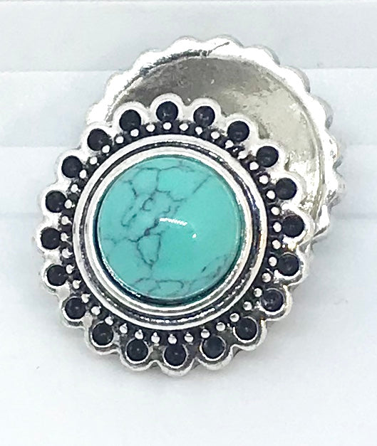 Round Turquoise and Silver Flower Snap