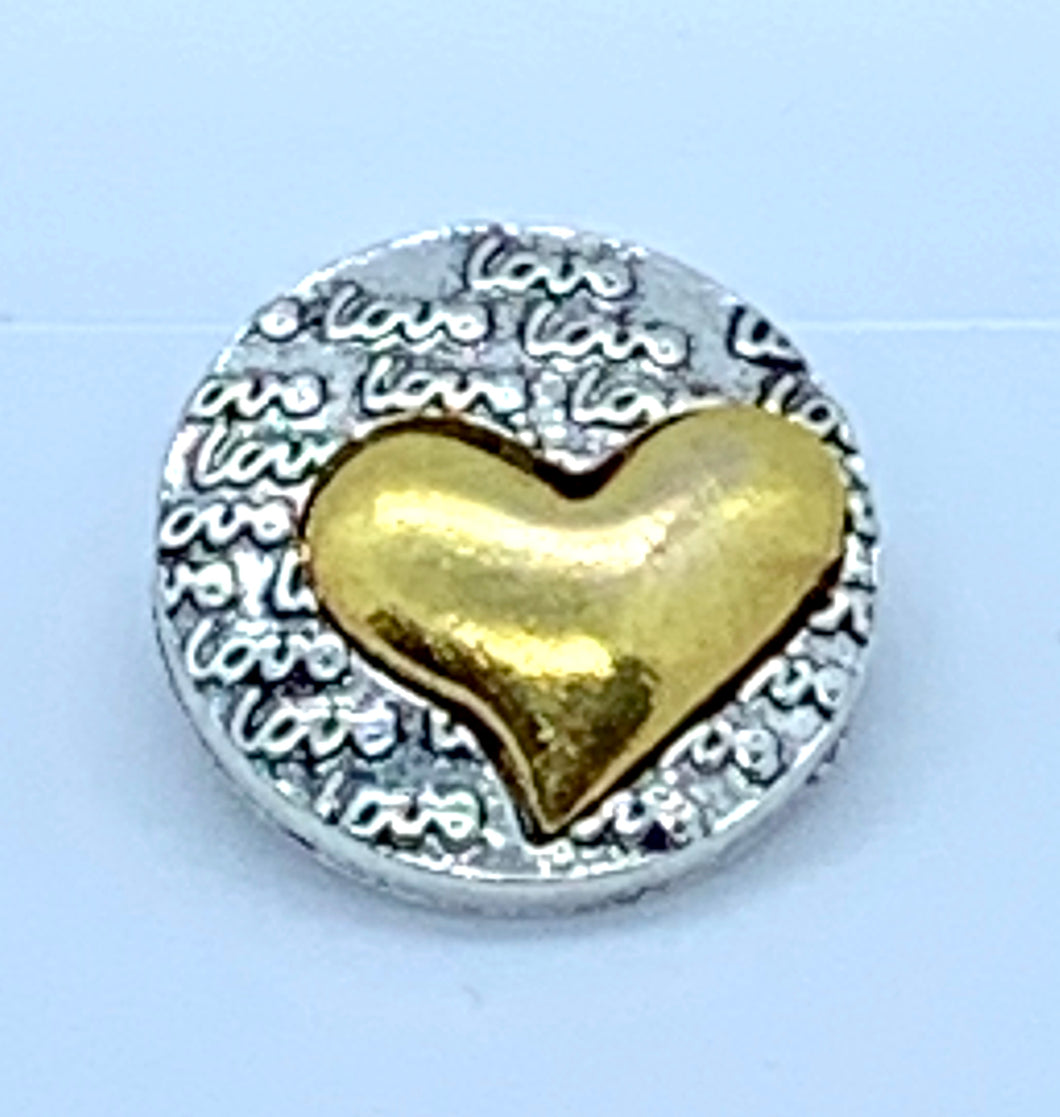 Brass Heart and Silver Love Snap