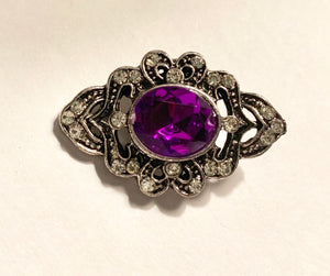 Large Purple Diamond Snap Faux Marquesite Crystal Snap