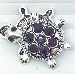 Amethyst Crystal and Silver Turtle