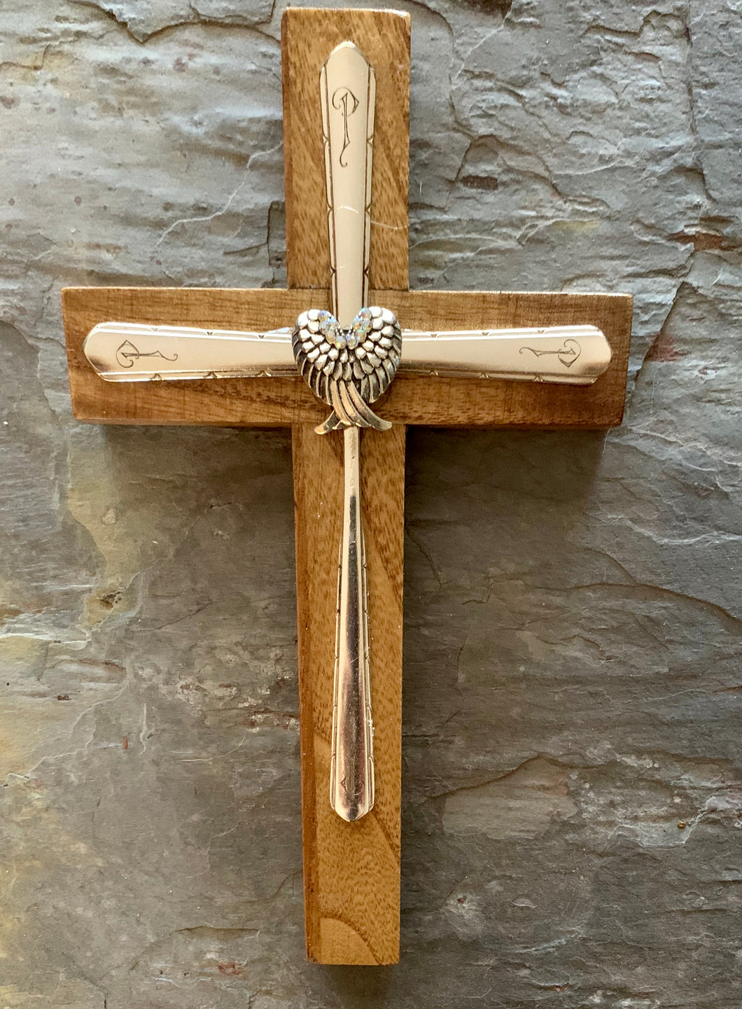 Wood and Vintage Silverware Cross